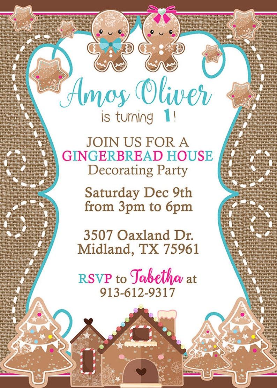 Girl 8th Birthday Winter Gingerbread House Decorating Birthday Invitation CHRISTMAS Gingerbread House Decorating BIRTHDAY Party INVITATION