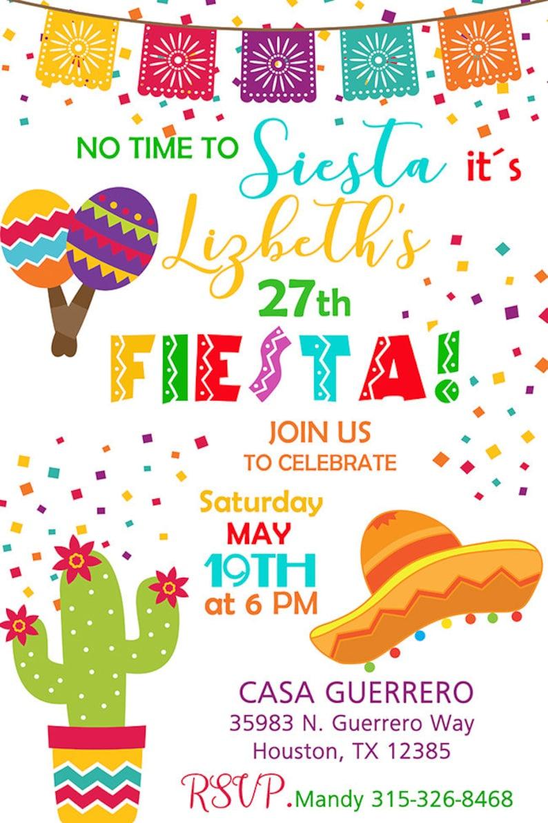 Fiesta Birthday Fiesta Birthday Party Invitation Triplets FIESTA BIRTHDAY INVITATION No time to Siesta Lets Fiesta Customized Printable