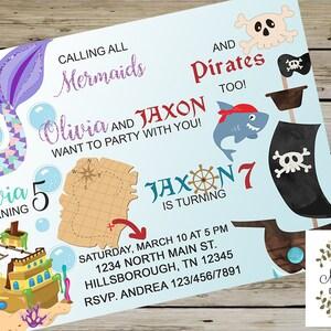 Pirate Birthday Mermaid Birthday Mermaids /& Pirates SIBLINGS BIRTHDAY INVITATION Customized Digital Printable Mermaids Pirates