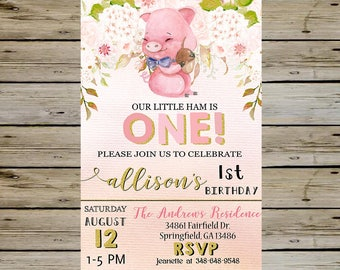 PIG BIRTHDAY INVITATION - Watercolor Pig and Flowers - Pink & Gold - Piggy Bday Invitation - Birthday Invite - Customized Digital File