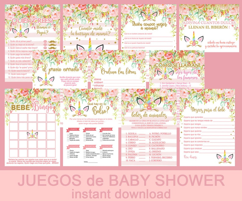 Girl Baby Shower Games Pack Set Kit De Juegos Espanol De Etsy