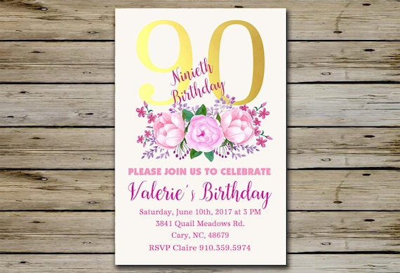 90th BIRTHDAY INVITATION Gold And Flower Bouquet 90 Years