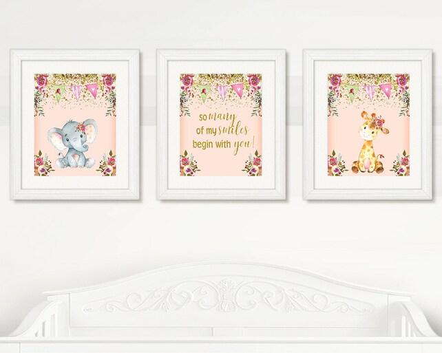 BEAUTIFUL Elephant & Giraffe Nursery Wall Art Girl Nursery | Etsy