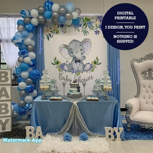 New Baby Shower Blue Stripe Photo Backdrop 250x180cm Boy Baby Shower Balloon Elephant Party Background Picture Backgrounds for Photography Vinyl Photo Banner Cake Dessert Table Decorations
