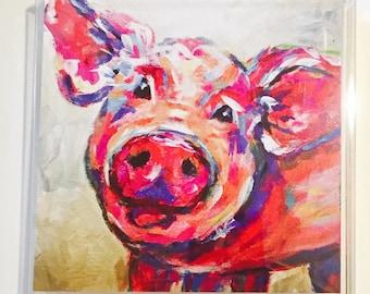 Pig cards, Pig folded notecards, pig stationery, pig gifts