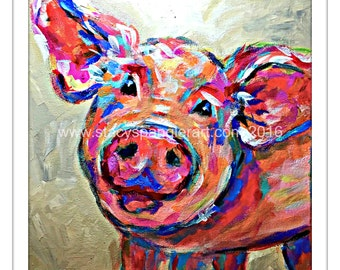Pig print, pig decor, pig art