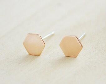 Gold Hexagon Earrings - Geometric Earrings - Graduation Gift - Gold Filled Stud Earrings - Dainty Jewelry - Mother's Day Jewelry