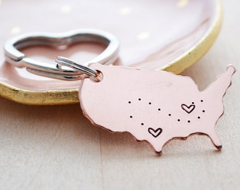 United States Keychain - Moving Away Gift - See You Soon - USA Map - Best Friend Long Distance Relationship - Christmas Gifts for Her - LDR
