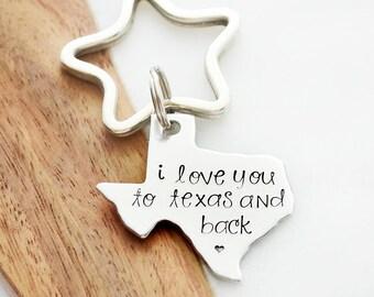 I Love You to Texas and Back - Waco, Texas - Aluminum Texas Key Chain - Texan Key Ring - State Pride - I Call Texas Home