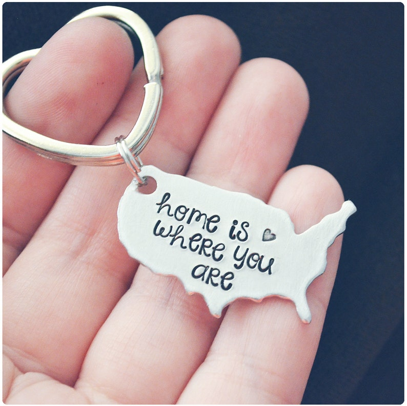 Home is Where You Are Keychain - United States Key Ring - USA Map - Long  Distance Relationship - Hand Stamped Keychain - Couples Gift