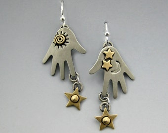 Hand Earrings, Hands With Stars Earrings, Dangle Hand Earrings, Dangle Earrings, Silver Hand Earrings, Hands With Stars, Silver Hands RP0260