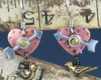 Steampunk Earrings, Steampunk, Steampunk Jewelry, Steampunk Hearts, Steampunk Birds, Steampunk Style Earrings
