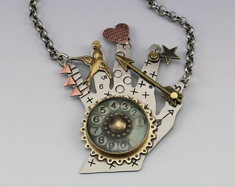 Steampunk Jewelry, Hand Necklace, Hand Jewelry, Hand Pin, Mixed Metal Hand Jewelry, Artisan Jewelry, Steampunk Hand, RP0649