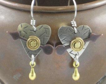 Steampunk Earrings, Steampunk Jewelr, Steam Punk Earrings, Steampunk Inspired Jewelry, Steampunk Heart Earrings, Heart Earrings, RP0276
