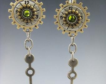 Steampunk Earrings, Mixed Metal Earrings, Steampunk Jewelry RP0447ER