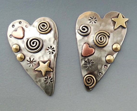 9e5fa2dfa Hearts, Heart Earrings, Silver Heart Earrings, Mixed Metal Earrings RP0606