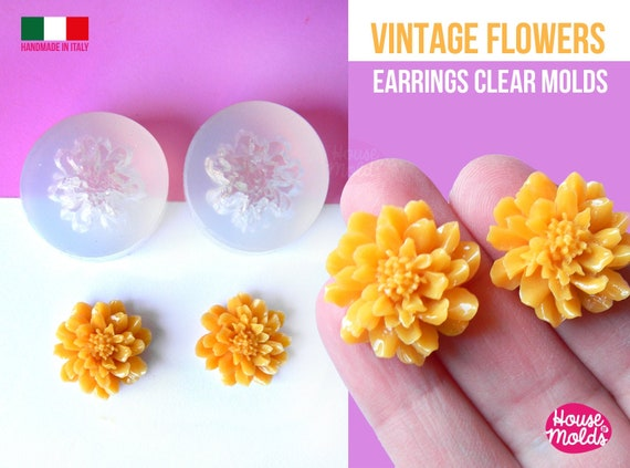 Vintage Flowers earrings Clear Molds - measurements 23 mm diameter - flat back  thickness  on center 9 mm  super shiny - house of molds