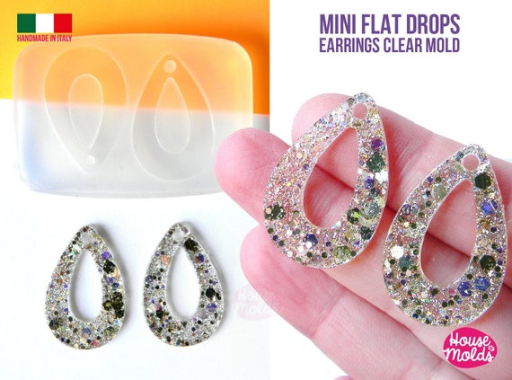 Mini Flat TearDrops  earrings Clear Molds , Premade Holes on top , measurements 32 x 21 mm thickness 2 mm - super shiny - house of molds