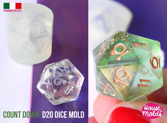 Count Down D20 Dice Clear Silicone Mold -size  21 x 21 mm -  HOUSE OF MOLDS- Crescent Numbers D20  super shiny surface