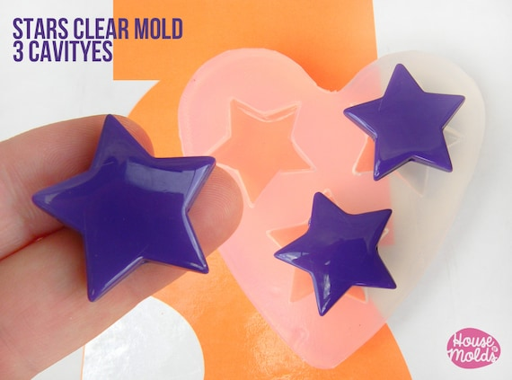 Stars Shapes Clear Mold 27 mm x 29 mm  , transparent Mold  to make resin earrings or pendants- easy to use!