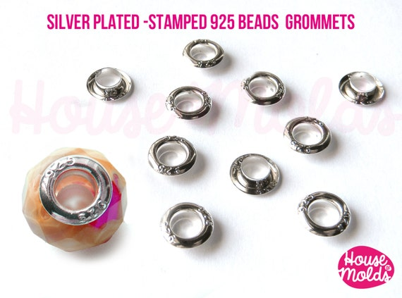 Silver Plated-stamped 925- Grommets for European style Beads,drilled Bead eyelets,external diameter 9 mmx3mm,inside Hole 5mm
