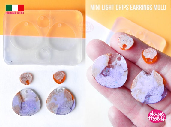 Mini Light Cips earrings Clear Molds , Premade Holes on top , measurements 24  x 25 mm thickness 2 mm - super shiny - house of molds