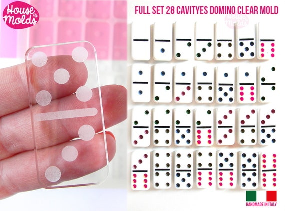 Full Set 28 cavityes real size Domino Clear Silicone Molds  - Play domino with dots engraved silicone clear molds- NOW DISCOUNTED PRICE !