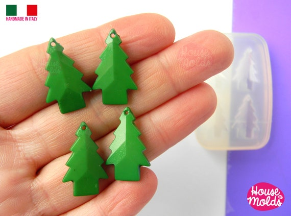 4 Tiny trees  faceted earrings Clear Mold , Pre Made Holes on Top - Transparent Mold to make earrings or pendants: super shiny