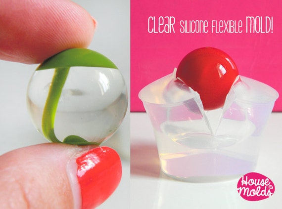 Clear Mold for Sphere 2 cm diameter ,Mold for resin Ball-super shiny surface Clear like glass mold!