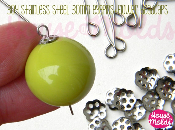 Stainless Steel Flower Tiny  Cute Beadcaps 6 mm diameter +30 mmStainless Steel Eyepins- the perfect match for create !