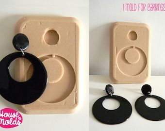 Silicone Mold for Mod earrings,resin earrings maker silicone mold-house of molds