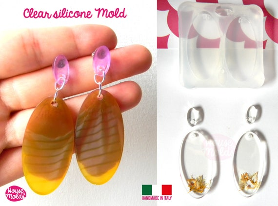 Oval Flat Earring Set+ premade hole on top Clear  Silicone Mold,  with 4 cavityes- perfect for any resin creations!