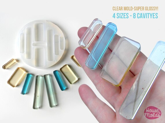 Rounded Rectangles Clear Mold 4 sizes transparent Mold to make resin collier, earrings single or multiple pendants-very shiny surface super