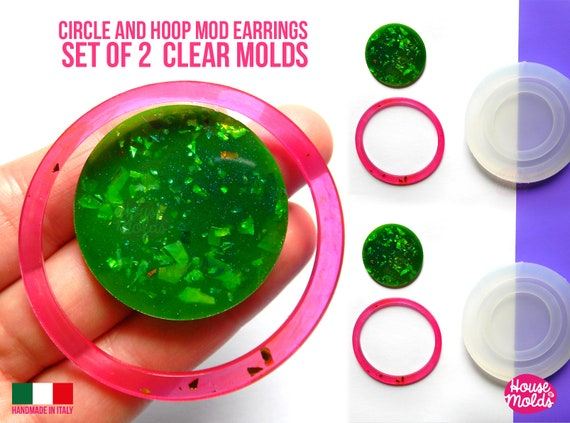 Hoops and Circles Mod earrings  2 Clear Molds ,endless combinations easy to use Transparent Molds  to make earrings or pendants: super shiny