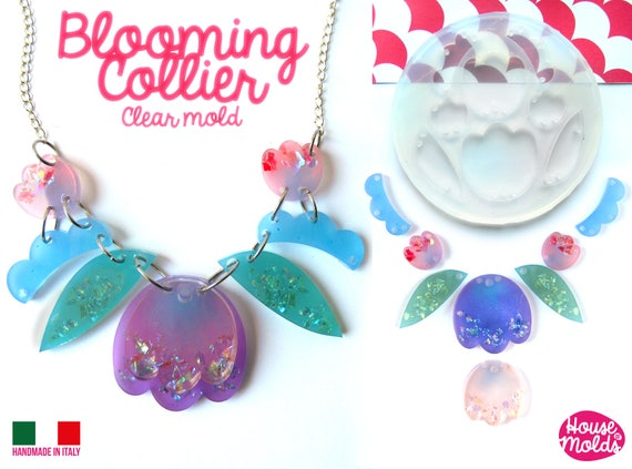 Blooming Collier Clear Mold SET of 8 with Pre-Made Holes !Transparent Mold to make statement necklaces  supershiny and easy work with