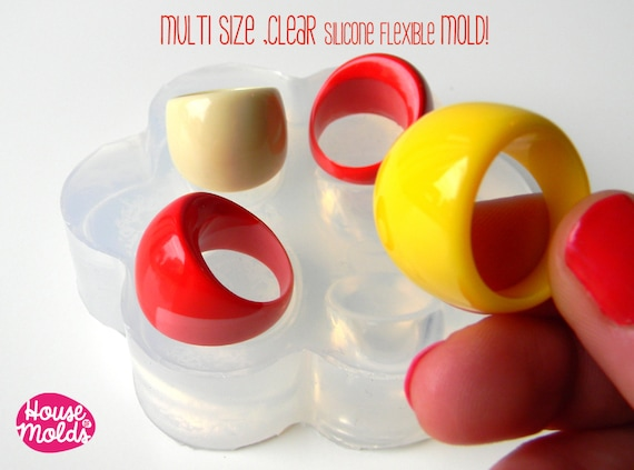 Clear Multi Size Mold ,for 60s resin rings,4 SIZES rings mold,resin rings maker,super shiny results