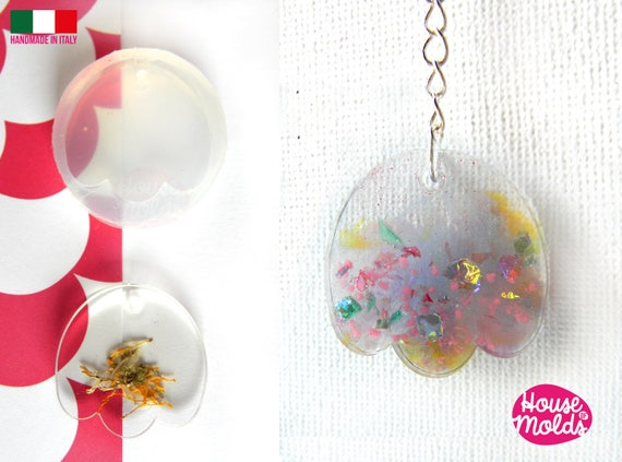 Tulip Clear Mold with  Pre Made Hole on Top! Transparent Mold to make earrings or pendants: super  shiny and easy work with-made in italy