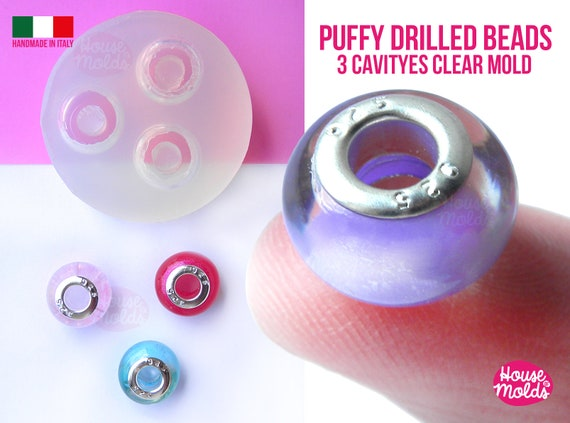3 Cavityes Puffy Drilled Beads Clear Mold ,Mold for 3 Round  Resin beads 14 mm outer diameter 5,5 mm inner hole - super glossy !
