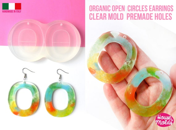 Organic open circles earrings Clear Mold , Premade Holes , measurements 55 x 48 mm thickness 3 mm , easy and  super shiny - house of molds