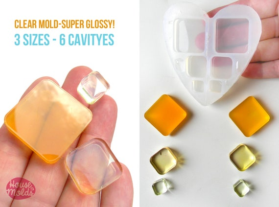 ROUNDED SQUARES Mold 3 sizes , transparent Mold to make resin collier, earrings single or multiple pendants- easy to use!