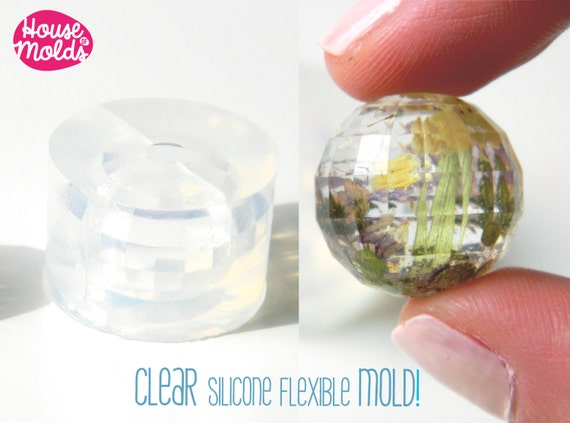 Clear Mold for Faceted Sphere 2.2 cm diameter ,Mold for  faceted resin Ball-House of Molds