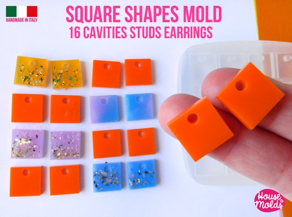 Square Studs earrings Clear Mold , 15x 15 mm + Premade Holes , 16 cavities, very easy to use  super shiny - house of molds