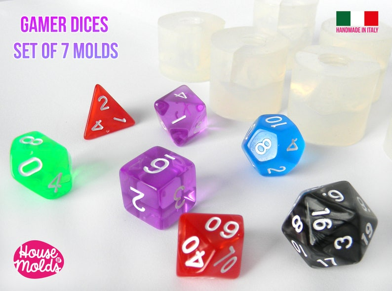 Gamer Dices Set of 7  Clear Silicone Molds  HOUSE OF MOLDS-7 image 1