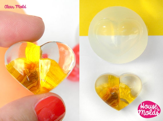 Puffed Heart Clear Silicone Mold - HOUSE OF MOLDS 24mm x 29 mm pendant mold for resin,super shiny surface easy to use
