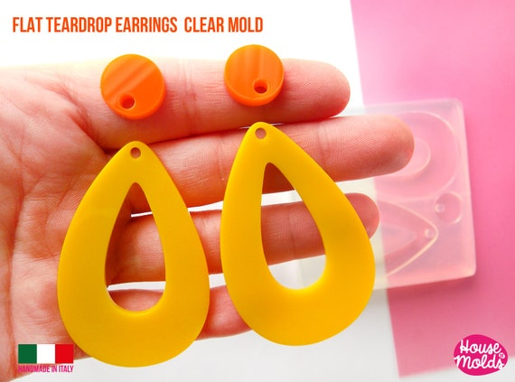 Clear Silicone Mold for Teardrop earrings-60s earrings Drops Mold,earrings 59 mm x 38 mm 2 mm thickness-super shiny results