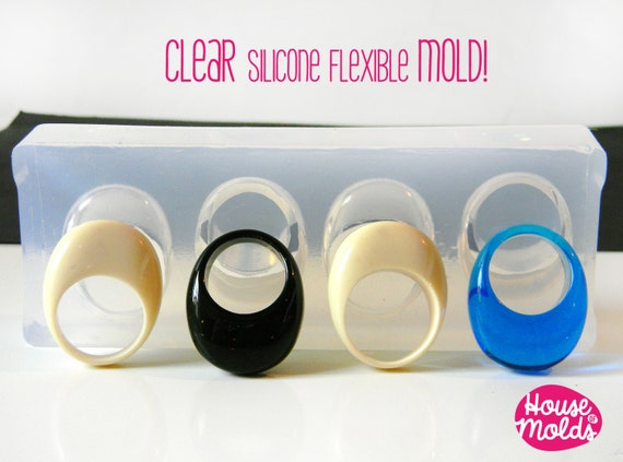 Clear Multi Size Oval Bubble Rings- Clear  Mold to make 4 size Bubble ring-resin rings maker-super shiny creations