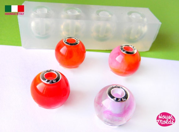 Spherical Drilled Beads 4 cavityes Clear Mold ,Mold for Big  Round  Necklaces  Beads  17  mm diameter 5,5 mm inner hole - super glossy !
