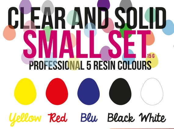 Small Solid and Clear Professional Resin Colour set of 5 -make Opaque and Clear Colour resin-high coloring properties infinite combination-