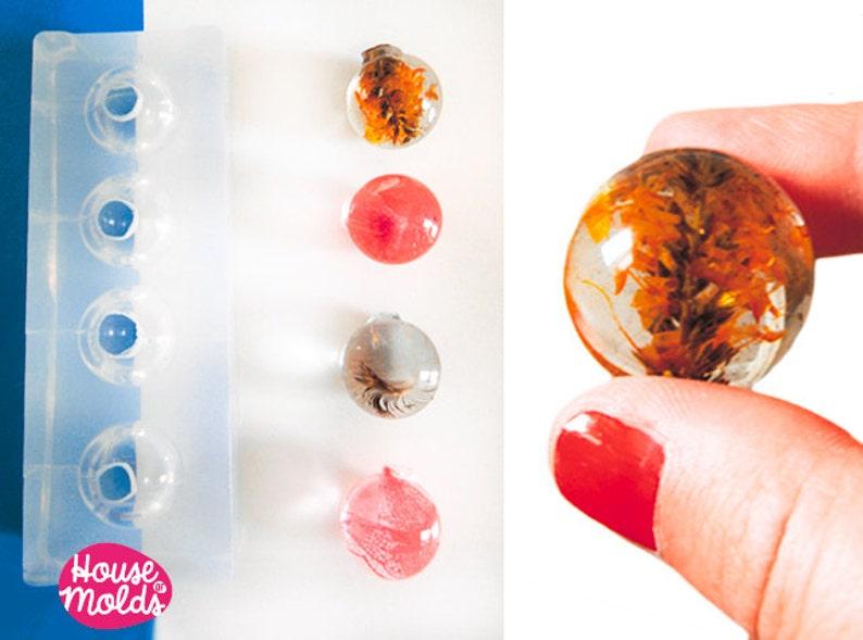 Multi Spheres 25 mm diameter Clear Mold,4 cavities to create super shiny Resin Orbs,25 mm diameter spheres Mould