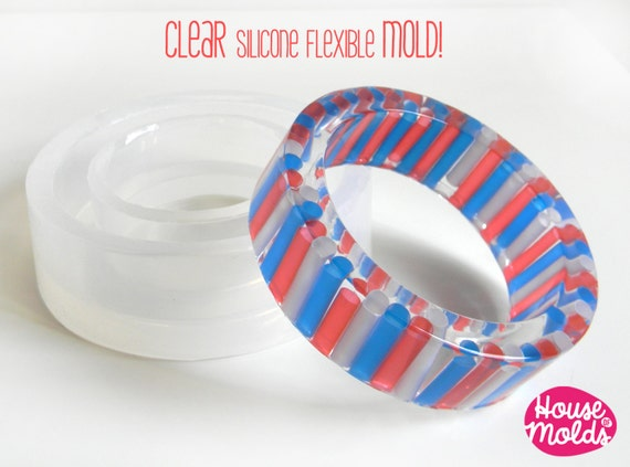 Bold Basic Bangle Clear Mold,resin bangle mold- 63 mm inner diameter   22 mm tall